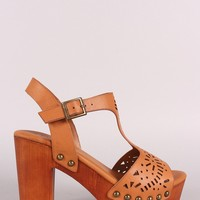 Bamboo Laser Cut-Out Wooden Chunky Platform Heel
