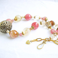 Faceted fire cherry quartz chunky necklace in pinks with antiqued brass filigree focal bead, watermelon quartz.