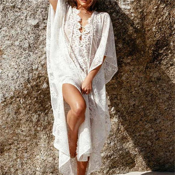 Designer Beach Kaftan Sexy Lace Cover Up