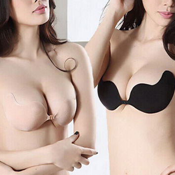 Women Sexy Push Up Bra Invisible Silicone Seamless Strapless Bra