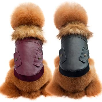 Autumn Winter Dog Clothes Warm Leather Coat for Puppy Teddy Bichon Fur Collar Cotton Clothing Pet Costume Wine Black S-XXL