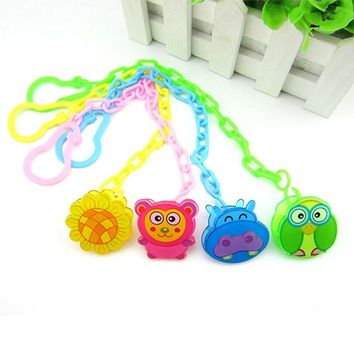 Cute Baby Pacifiers Chain For Baby Soothers Chain Clip Holder Feeding Product Animal Cartoon Baby Pacifier Anti Lost Chain