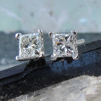 Princess Cut Diamond Earrings in 14K White Gold by pristinejewelry