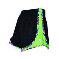 Womens Split Shorts black neon green sides