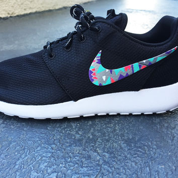 Womens Custom Nike Roshe Run sneakers, South Beach teal/ Pink petals, Customized sneakers, Fashionable design, triangles, tribal design