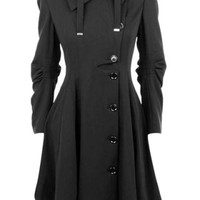 Stylish Turn-Down Collar Long Sleeve Asymmetrical Button Design Women's Coat