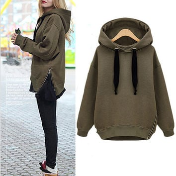 SIDE ZIPPER HOODIE (ARMY GREEN) | Paper Kranes