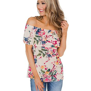 Chic Apricot Off The Shoulder Floral Blouse Top