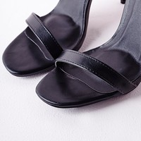 BARELY THERE STRAPPY HEELED SANDALS BLACK