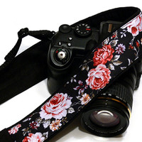 Roses Camera Strap, Floral Camera Strap, Black and Red Flowers Camera Strap, Nikon, Canon Camera Strap, Women Accessories