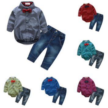 Baby Boys Long Sleeve Bodysuit Shirt with Bow Tie and Jeans Set
