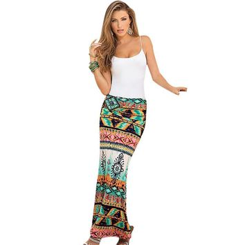 Women's Fashion Retro Printing Ankle Length Skirt S-2XL