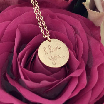 SALE-Valentine's Day I Love You Rose Gold Heart Circle Necklace,Women's Necklace,Bridesmaid Gift,Dainty Necklace,Mother's Day Gift