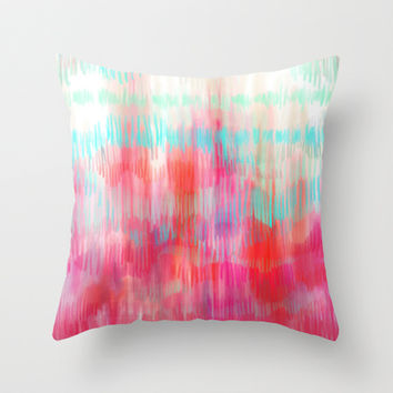 Color Song - abstract in pink, coral, mint, aqua Throw Pillow by micklyn