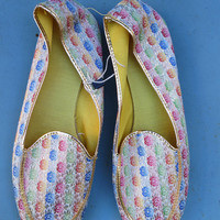 Vintage NOS 1950's/1960's metallic floral brocade fabric slippers shoes sz 10