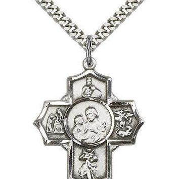 ".925 Sterling Silver Four Way Cross Necklace For Men On 24"" Chain - 30 Day Mo... 617759213119"