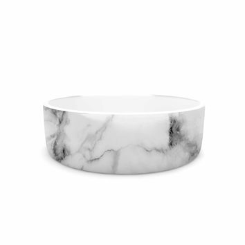 "Kess Original ""White Marble"" Gray White Pet Bowl"