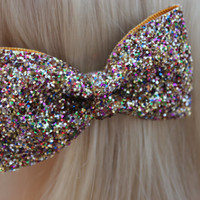 Rainbow Allsorts Gold Glitter Hair Bow Cute Kawaii Glitter Hair Bow Little Mix