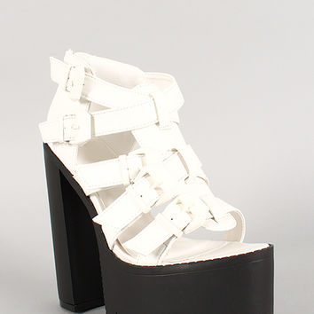Multi-Buckle Lug Sole Open Toe Platform Heel