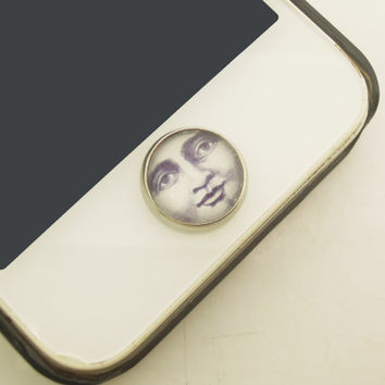 1PC Retro Glass Epoxy Transparent Times Gems The Moon Face Alloy  Cell Phone Home Button Sticker Charm for iPhone 6, 4s,4g,5,5c Kids Gift
