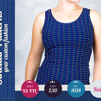 Knit tank top for women easy pdf sewing pattern  with step by step sewing tutorial (easy/beginners) XS/S/M/L/XL