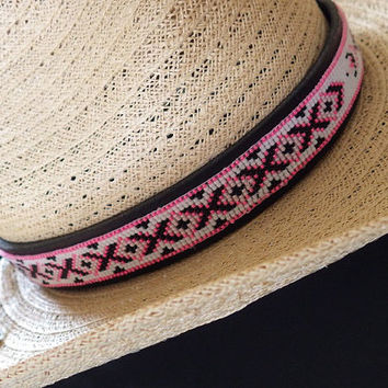 Country Girl- Cowgirl- Hot Pink- Black- White- Western- Bead Woven- Tooled Leather Hat Band- Design and Bead Looming by Karen Pearson