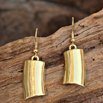 Curved Halfpipe Earrings, Gold