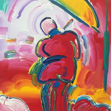 Sage with Umbrella, Original Acrylic Painting on Canvas, Peter Max