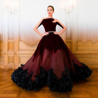 Velvet 2016 New Stunning Vestido de festa Burgundy Evening prom Dresses Sheer See Through Long Sleeve Sexy Celebrity Dress