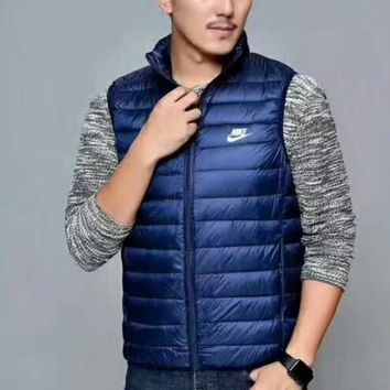 Day-First™ NIKE Zipper Cardigan Sweatshirt Jacket Coat Windbreaker Down Jacket Blue I-A001-MYYD