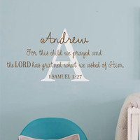 1 Samuel-For this child- Personalized with name Vinyl Wall Decal Lettering--Personalized Name-Bible Verse-Custom Wall Art