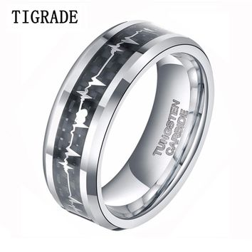 8MM  Men's Tungsten Carbide Ring Love Heart Beat Inlay Women Engagement Wedding Band Promise Rings Love Jewelry anillos hombre
