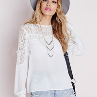 Lace Patchwork White Shirt