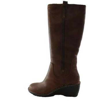 DCCK8X2 Authentic UGG Australia Hartley Tall Women's Brown Leather Shearling Fur Winter Boots