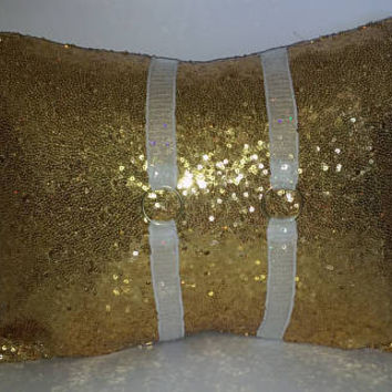 Gold Sequins All Over Luxury Lumbar Pillow Cover