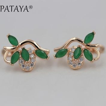 PATAYA New RU Hot 585 Rose Gold Drop Earrings Symmetry Petal Natural Zircon Earrings Women Exquisite Jewelry Wedding Earrings