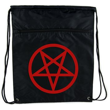 Red Inverted Pentagram Cinch Bag Drawstring Backpack Goth Punk Occult