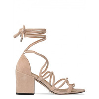 Kyra Nude Suede Lace Up Mid Block Heels : Simmi Shoes