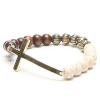 With Love From CA Multi Bead Stretch Cross Bracelet at PacSun.com