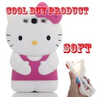 Cool Buy's Authentic Hello Kitty 3D Soft Case Cover for Samsung Galaxy S III GT- i9300 - Dark Pink