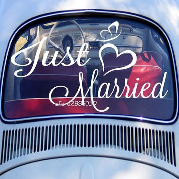 Just Married Wedding Wall Stickers Married Decoration Car Decal Waterproof Vinyl Removable Wedding Hot Selling Mural ZA107C