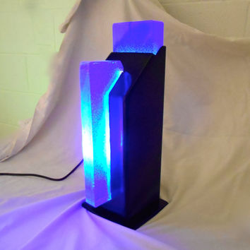 Cobalt Blue Repurposed Steel Beam Lamp, Art Deco Stained Glass Repurposed Lamp, glass desktop lamp, Modern Repurposed Lamp, Blue Nightlight
