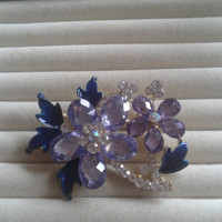 blue and purple crystal flower rhinestone goldtone  brooch  pin