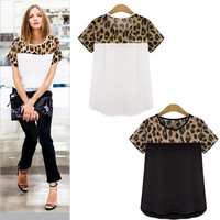 Feitong 2 Colors  Plus Size 3XL Summer Women Casual Clothing Leopard Printing Patchwork Chiffon Tops Tee Shirt blusas feminina