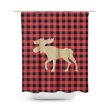 Buffalo Plaid Moose Shower Curtain