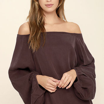 Prevail Washed Burgundy Off-the-Shoulder Top