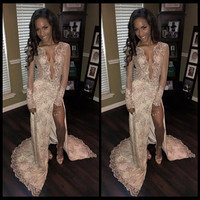 Sexy Deep V-Neck Black Girl Prom Dresses with Beading Crystals High Slit Mermaid Long Dresses With Appliques