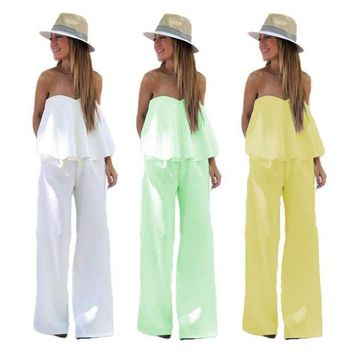 DCCKWJ7 Spring Summer Women Sxey White Green Yellow Ruffles Bodycon Jumpsuits Mujer Casual Romper Party Night Club Overalls For Women
