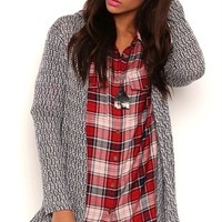 Long Sleeve Marled Knit Duster Sweater with Hood