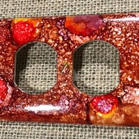 Alcohol ink|Outlet Plug|Electrical Outlet Cover Plate|Red Pepper|Pop of Color|Duplex Outlet Cover|One of a kind|Galaxy Duplex Outlet Cover